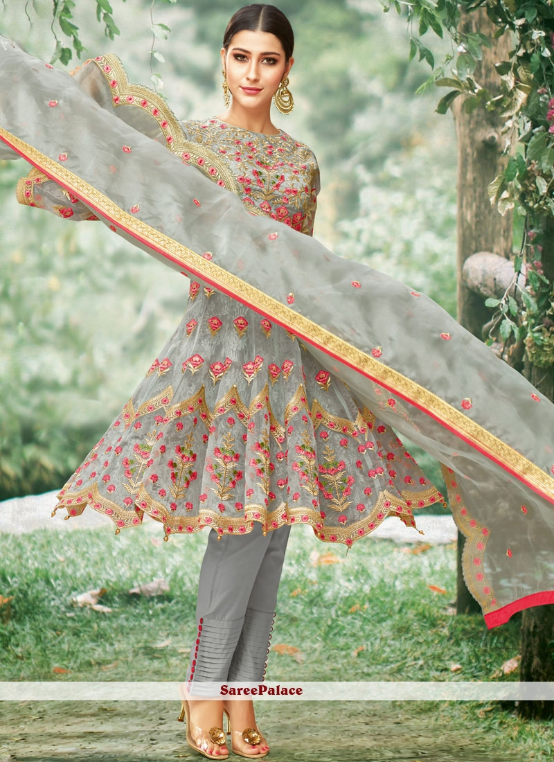 Net Embroidered Salwar Suit in Grey