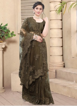 Net Embroidered Brown Traditional Saree