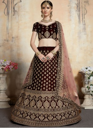 Net Embroidered Trendy A Line Lehenga Choli in Maroon