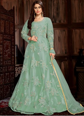 Net Embroidered Trendy Anarkali Salwar Kameez in Turquoise