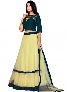 Net Embroidered Yellow A Line Lehenga Choli