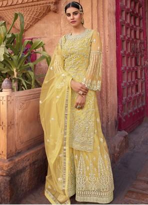 Net Embroidered Yellow Designer Pakistani Salwar Suit