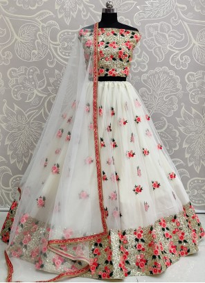 Net Engagement Off White A Line Lehenga Choli