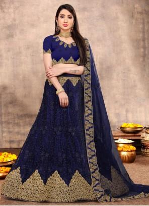 Net Engagement Blue Lehenga Choli