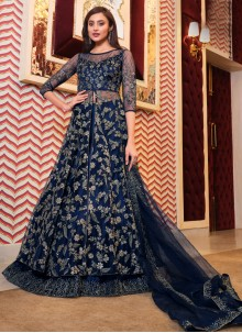 Blue Net Engagement Long Choli Lehenga