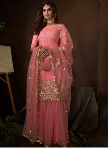 Net Engagement Palazzo Pink Salwar Kameez