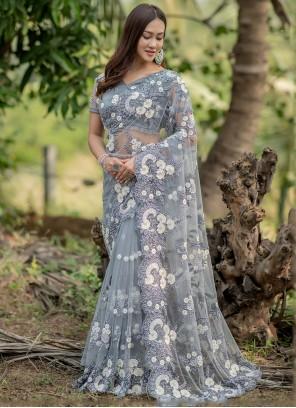 Net Fancy Work Grey Trendy Saree