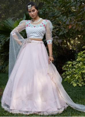 Net Fancy Pink Lehenga Choli