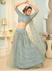 Net Fancy Lehenga Choli in Aqua Blue