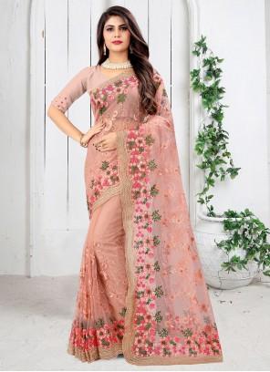 Pink Net Festival Classic Designer Saree