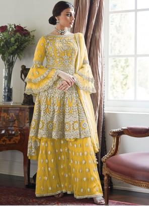 Yellow Net Festival Designer Palazzo Suit