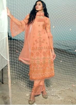 Peach Net Festival Designer Palazzo Suit