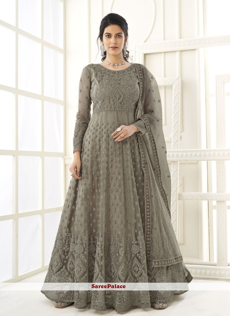 Grey Net Festival Floor Length Anarkali Suit