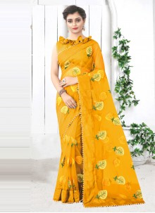 Yellow Net Festival Printed Saree
