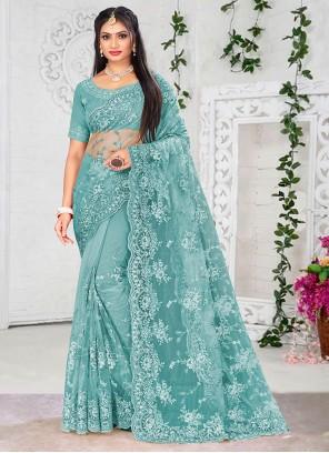 Net Firozi Designer Saree