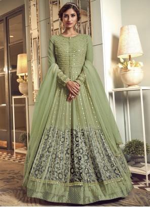 Net Green Floor Length Anarkali Salwar Suit