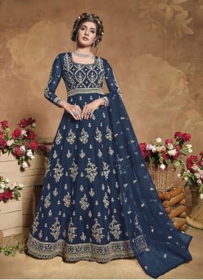 Blue Net Floor Length Anarkali Suit