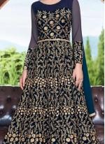 Net Floor Length Anarkali Suit in Blue