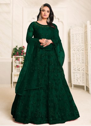 Net Floor Length Anarkali Suit in Green