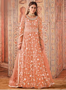 Net Floor Length Designer Suit in Peach