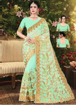 Net Green Embroidered Classic Designer Saree