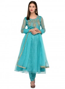 Firozi Net Embroidered Salwar Kameez