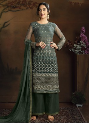 Net Green Embroidered Designer Palazzo Suit