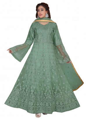 Net Green Embroidered Desinger Anarkali Suit
