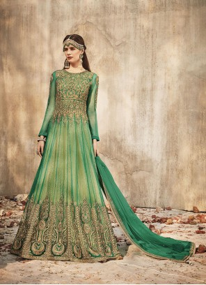 Net Green Embroidered Trendy Anarkali Salwar Kameez