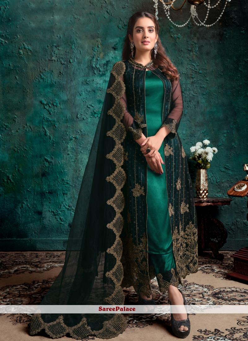 Net Green Fancy Designer Pakistani Suit