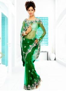 Net Green Handwork Classic Designer Saree