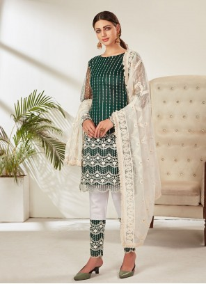 Net Green Pant Style Suit