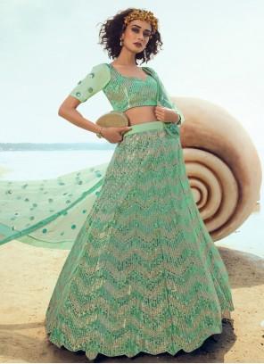 Net Pista Green Sequins A Line Lehenga Choli