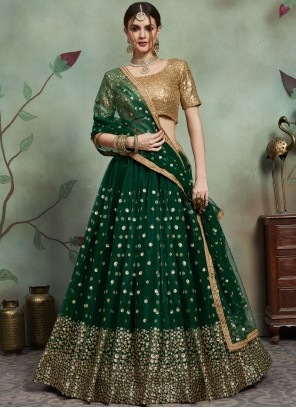 Net Green Trendy Lehenga Choli