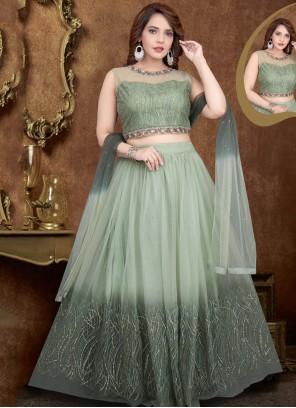 Net Green Zari Designer Lehenga Choli