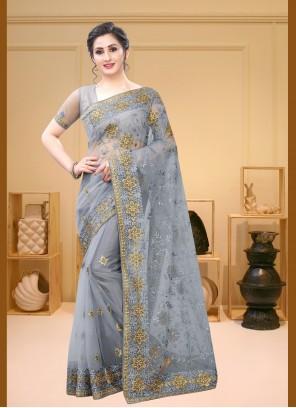 Net Grey Designer Saree
