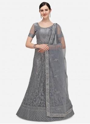 Net Grey Embroidered A Line Lehenga Choli