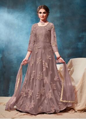 Net Grey Embroidered Anarkali Salwar Kameez