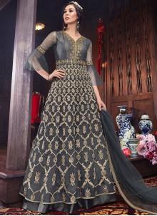 Net Grey Embroidered Floor Length Anarkali Suit