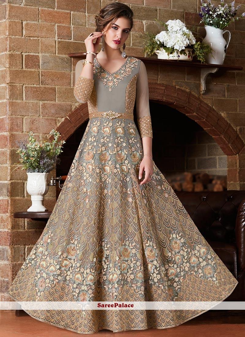 Net Grey Resham Floor Length Anarkali Suit