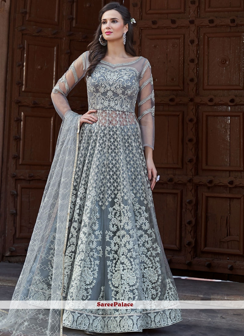 Net Grey Resham Long Choli Lehenga
