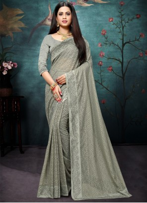 Net Grey Stone Bollywood Saree
