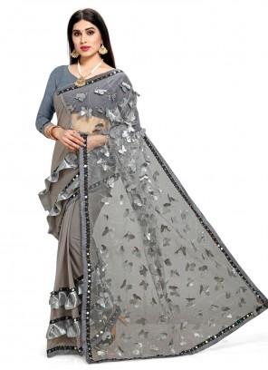 Net Half N Half Designer Saree in Grey