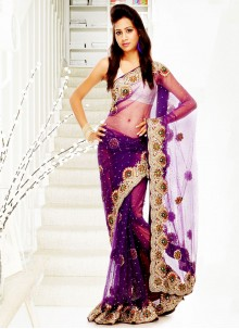 Purple Net Handwork Designer Saree