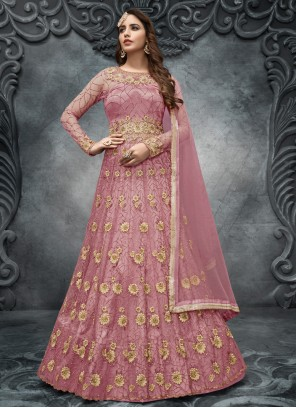 Net Handwork Pink Long Choli Lehenga