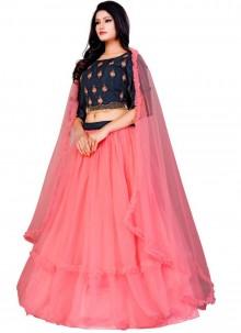 Net Hot Pink Trendy A Line Lehenga Choli