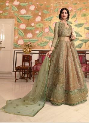 Net Lace Green Lehenga Choli