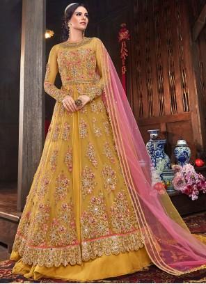 Net Lace Yellow Floor Length Anarkali Suit