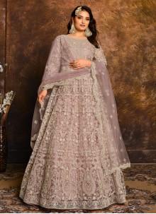 Net Lavender Designer Floor Length Salwar Suit