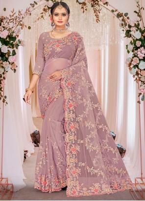 Net Embroidered Lavender Designer Saree